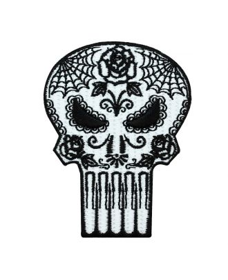 Punisher Floral Skull Iron-On Patch
