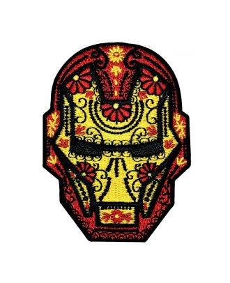 Iron Man Floral Face Iron-On Patch