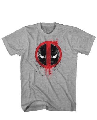 Marvel Deadpool Grunge Pool Heathered Grey Adult T-Shirt