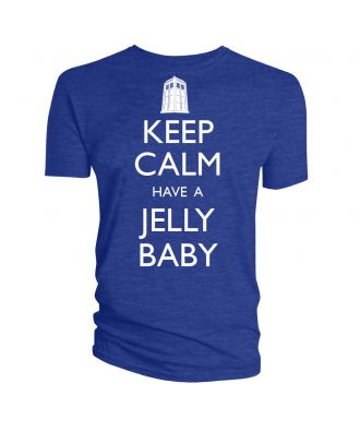 Doctor Who Keep Calm And Have a Jelly Baby Blue Adult T-Shirt