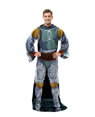 Star Wars Boba Fett Adult Comfy Throw Blanket with Sleeves