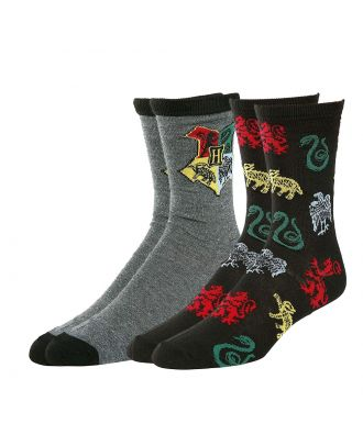 Harry Potter Hogwarts Logo Charcoal Crew Socks 2 Pack