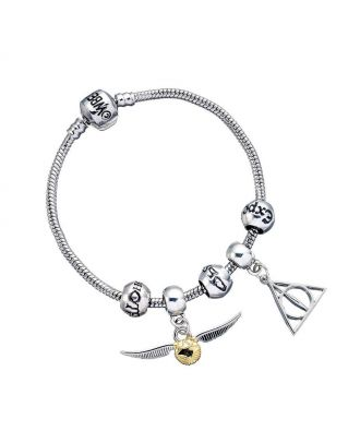 Harry Potter Charm Set Silver Bracelet/Deathly Hallows/ Snitch