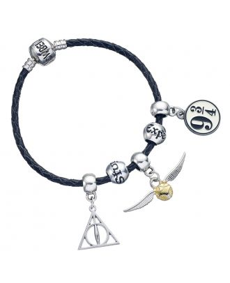 Harry Potter Charm Set Black Leather Bracelet With Three Charms