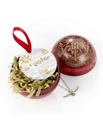 Harry Potter Hogwarts Crest with Golden Snitch Necklace Holiday Ornament