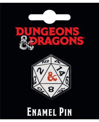Dungeons and Dragons 20 Sided Die Enamel Pin