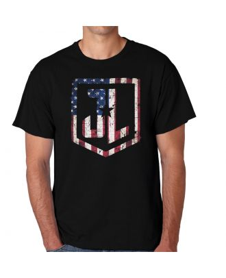 Justice League Movie Alternative Flag Logo Black Adult T-Shirt