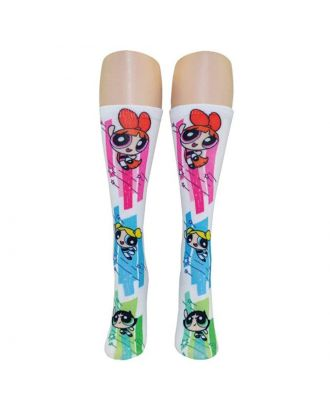 Powerpuff Girls-1 Pair 360 Print White Crew Sock