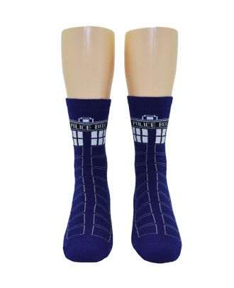 Doctor Who Tardis Full Cushion Slipper Socks with Treads