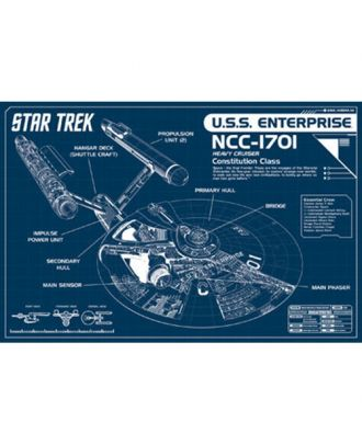 Star Trek Enterprise 1701 Schematic 24x36 Poster